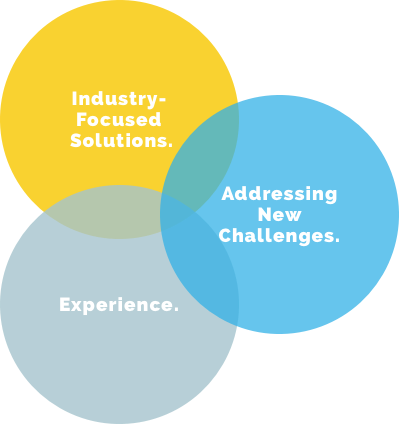 Venn diagram: industry solutions, new challenges, experience