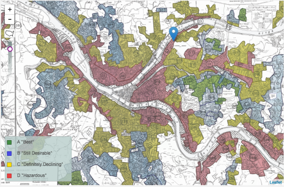 Redlining map of Pittsburgh, courtesy of Univ of Richmond's Mapping Inequality Project