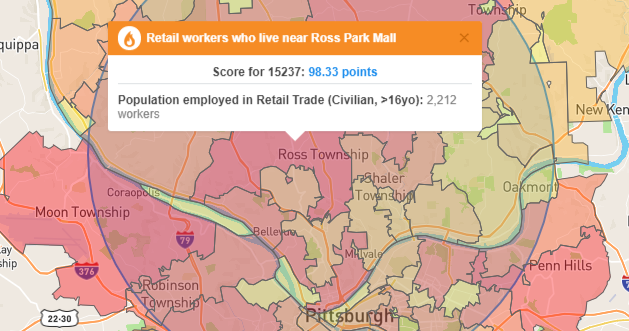BlastPoint Map showing concentration of retail workers North Pittsburgh suburbs