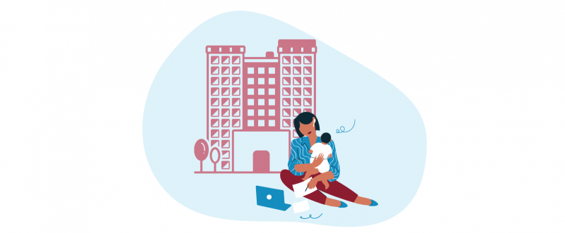 Woman with baby seated in front of apartment building