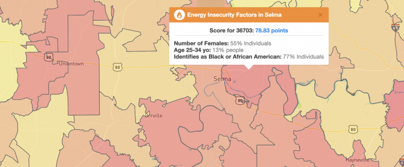 BlastPoint Map Showing Energy Insecure residents of Selma, AL
