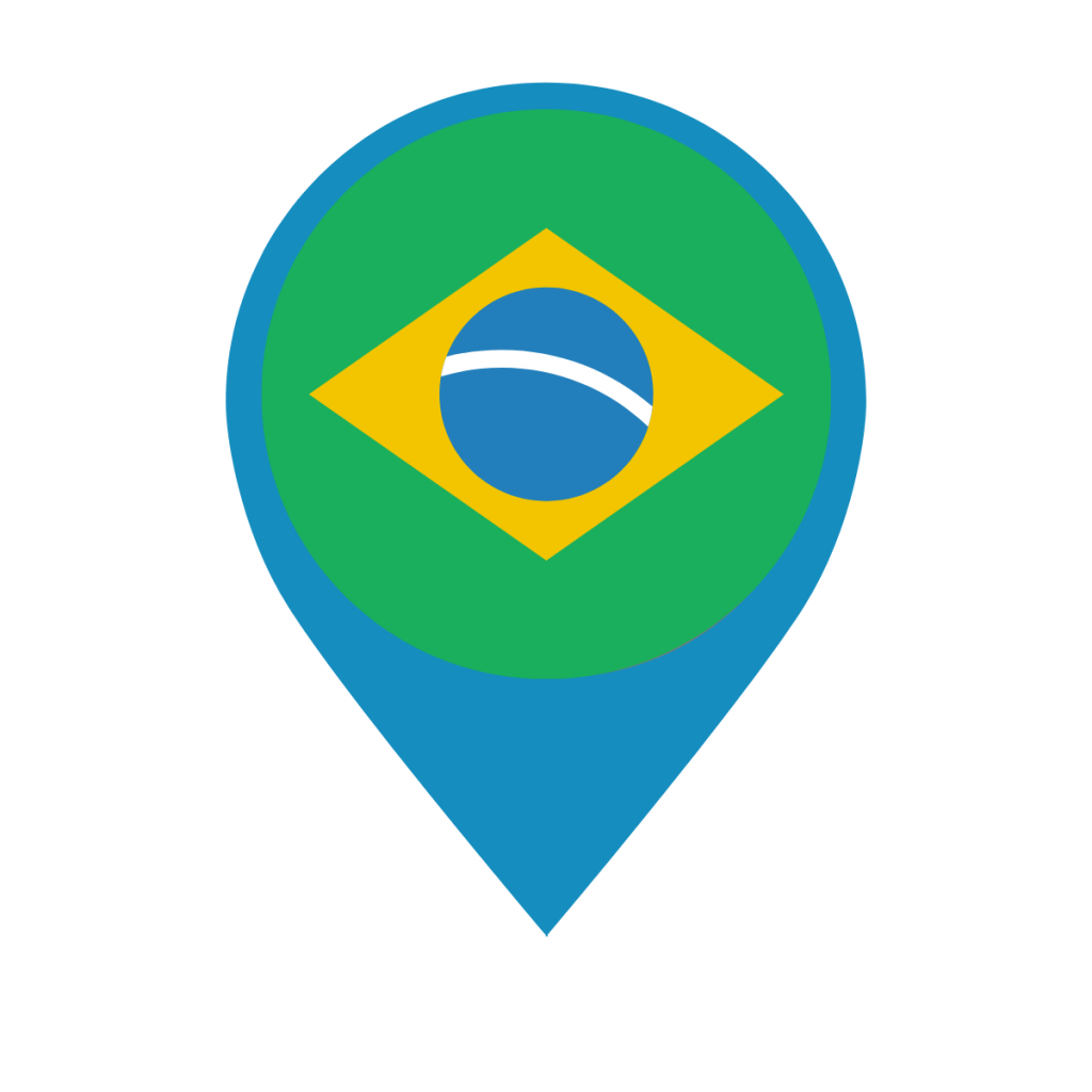 Brazil flag on map pin