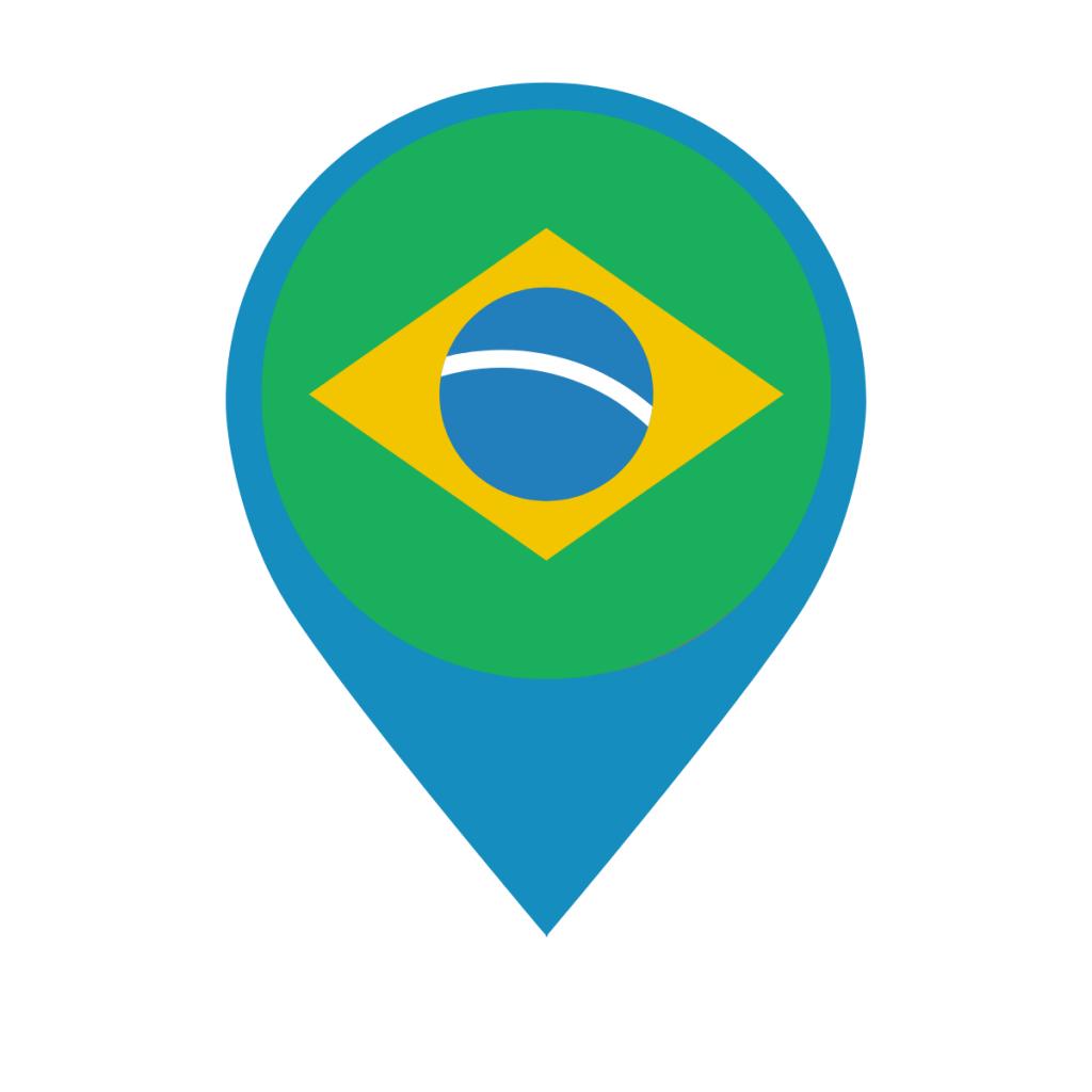 Brazil flag on map pin