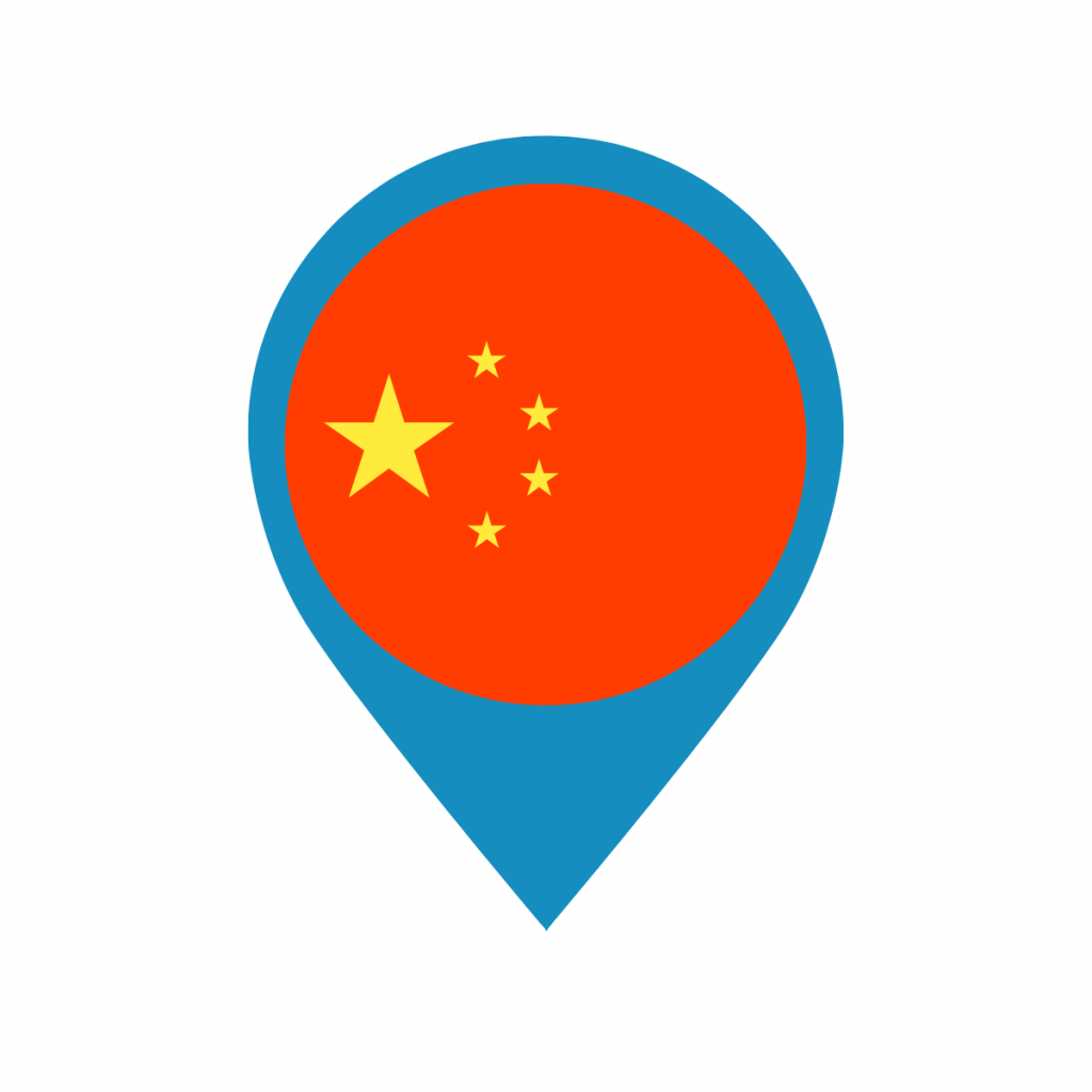 China flag on map pin