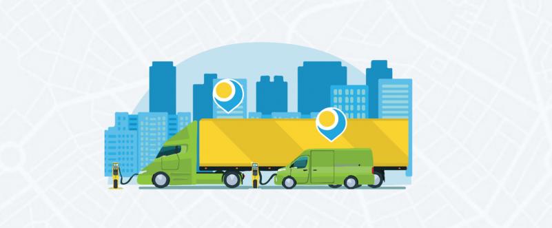 Fleet vehicles traveling through city