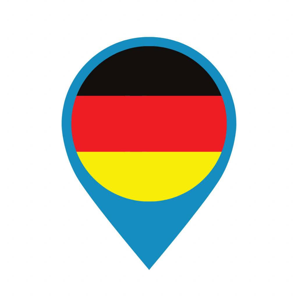 Germany flag on map pin