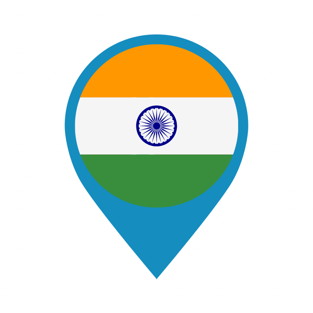 India flag on map pin