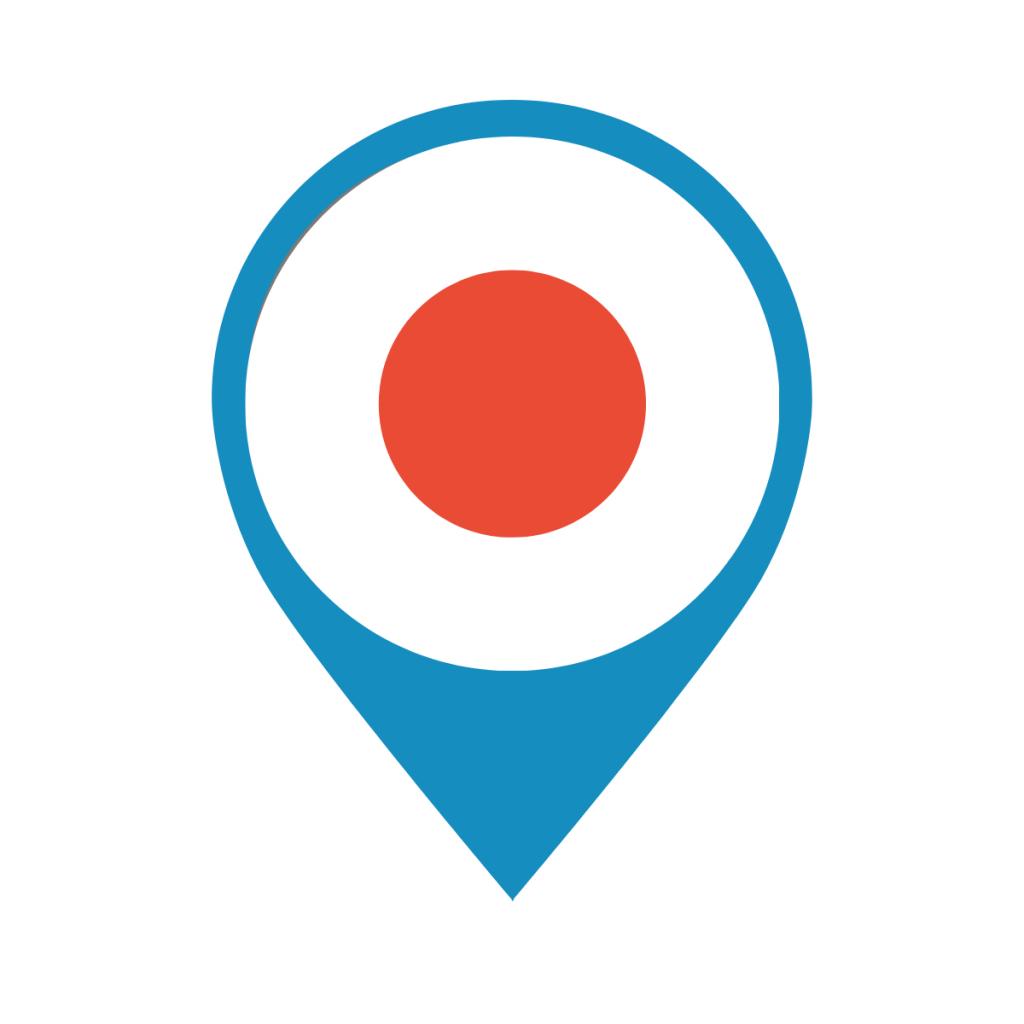 Japan flag on map pin