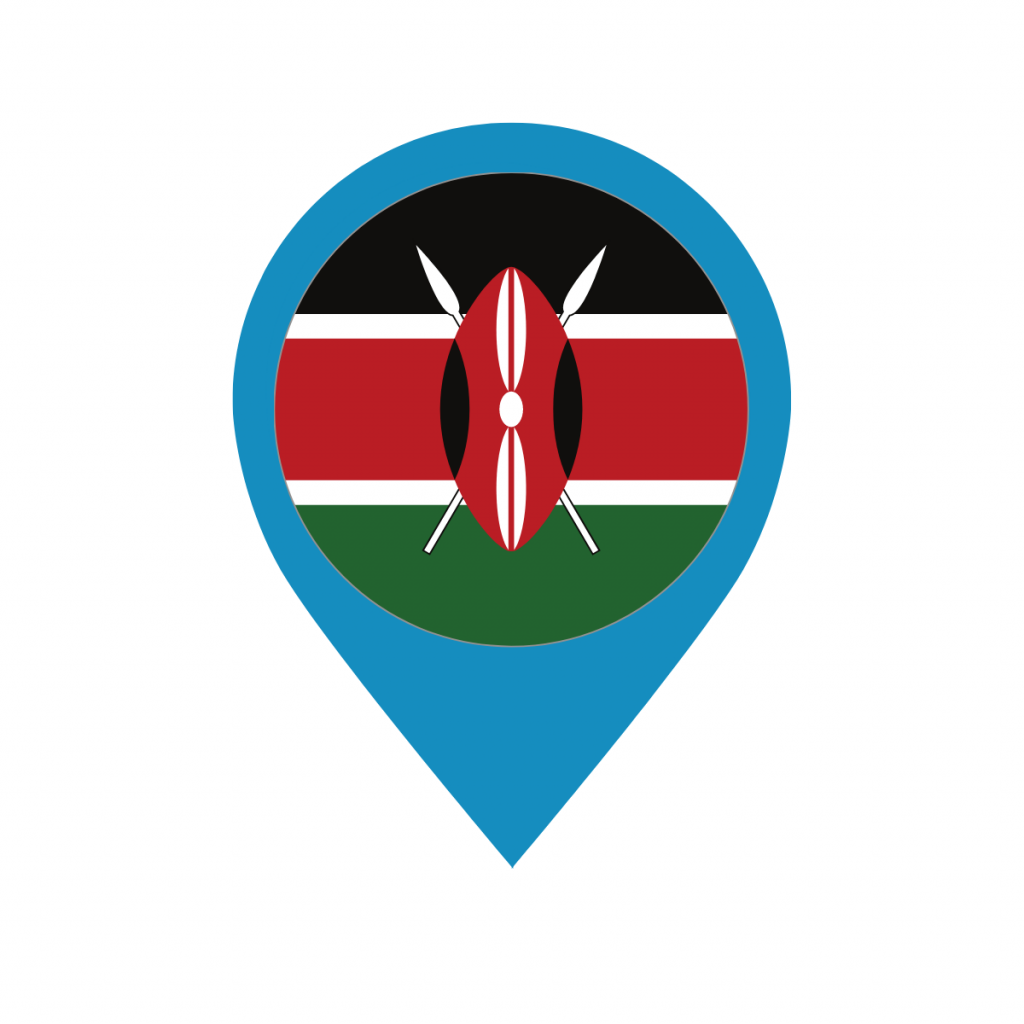 Kenya flag on map pin