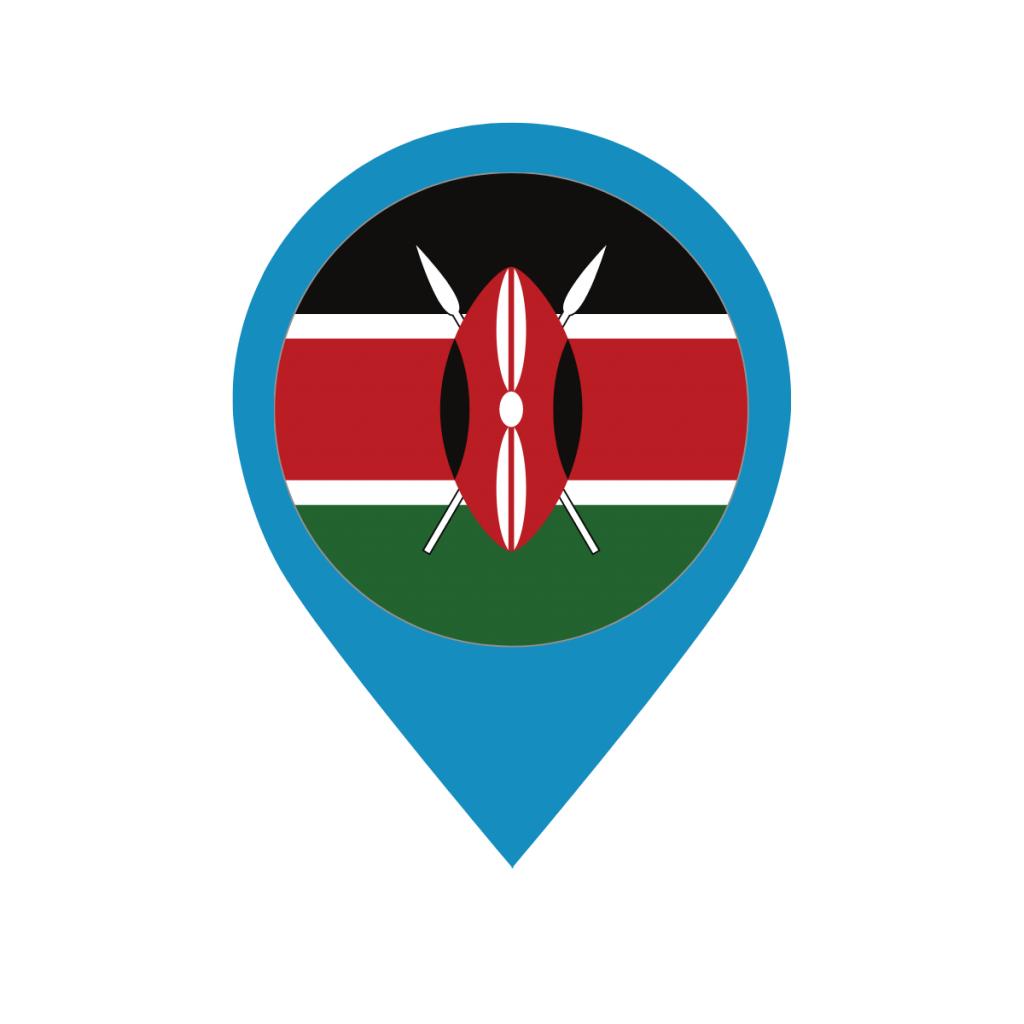 Kenya flag on map pin
