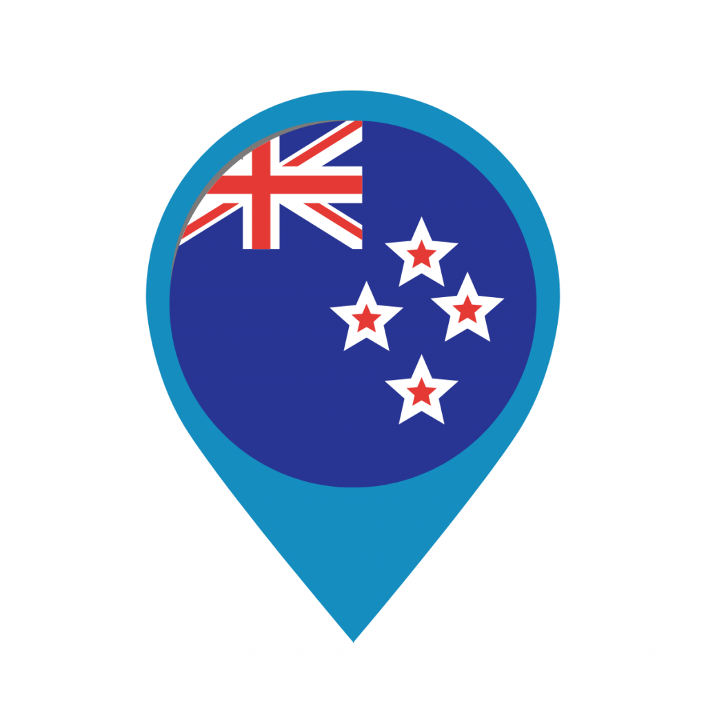 New Zealand flag on map pin