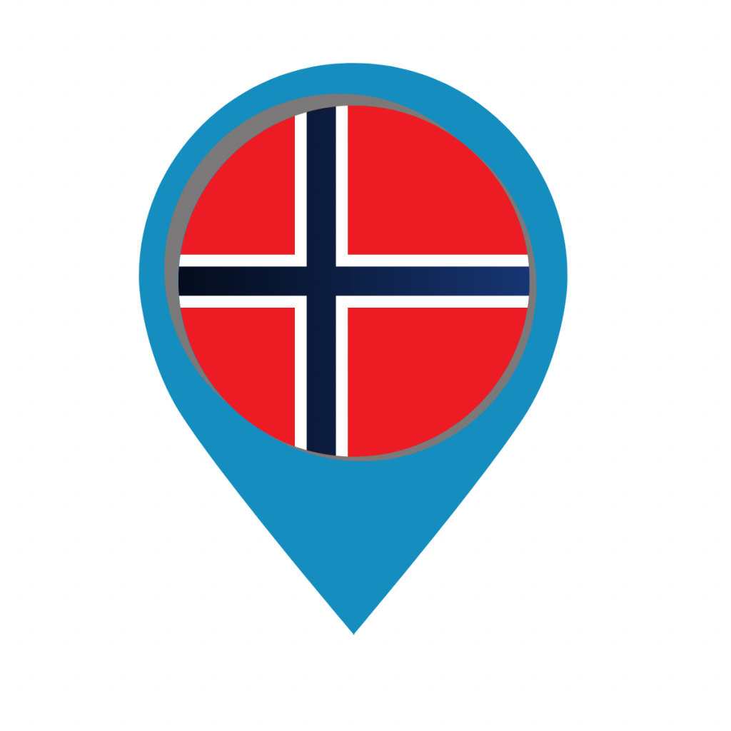 Norway flag on map pin