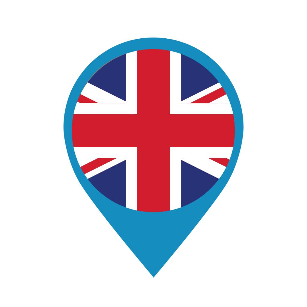 UK flag on map pin