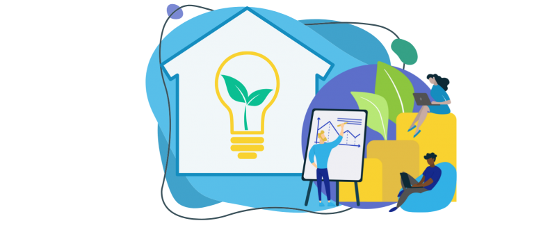 Graphic representing home energy efficiency. House with lightbulb and green leaves.